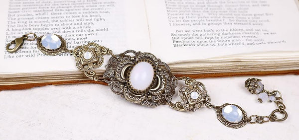 Canterbury Bracelet - White Opal - Antiqued Brass - Rabbitwood & Reason