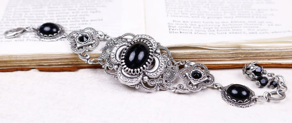 Canterbury Bracelet - Black - Antiqued Silver - Rabbitwood & Reason