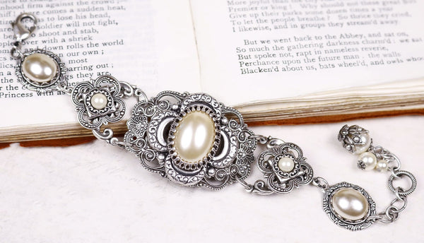 Canterbury Bracelet - Cream Pearl - Antiqued Silver - Rabbitwood & Reason