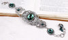 Canterbury Bracelet - Emerald - Antiqued Silver - Rabbitwood & Reason