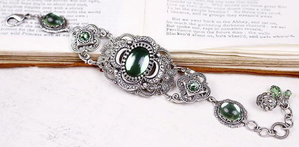 Canterbury Bracelet - Tourmaline Green - Antiqued Silver - Rabbitwood & Reason