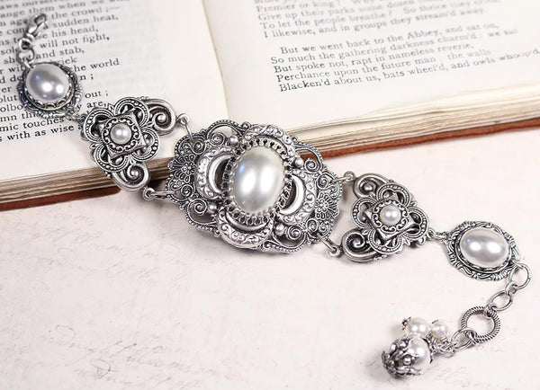 Canterbury Bracelet - White Pearl - Antiqued Silver - Rabbitwood & Reason