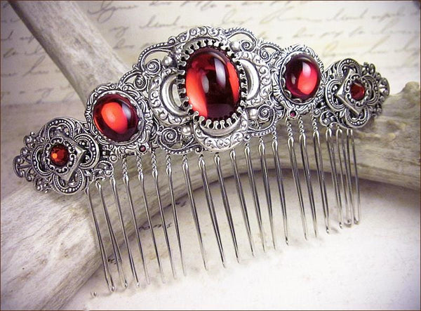 Canterbury Comb - Ruby - Antiqued Silver - Rabbitwood & Reason