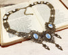Chateau Necklace - White Opal - Antiqued Brass - Rabbitwood & Reason