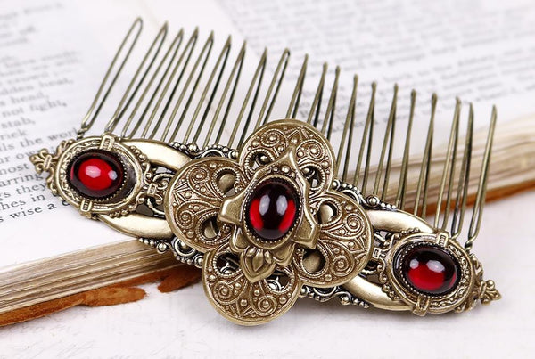 Avebury Comb - Garnet - Antiqued Brass - Rabbitwood & Reason