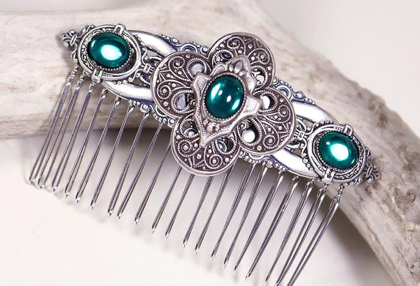 Avebury Comb - Emerald - Antiqued Silver - Rabbitwood & Reason