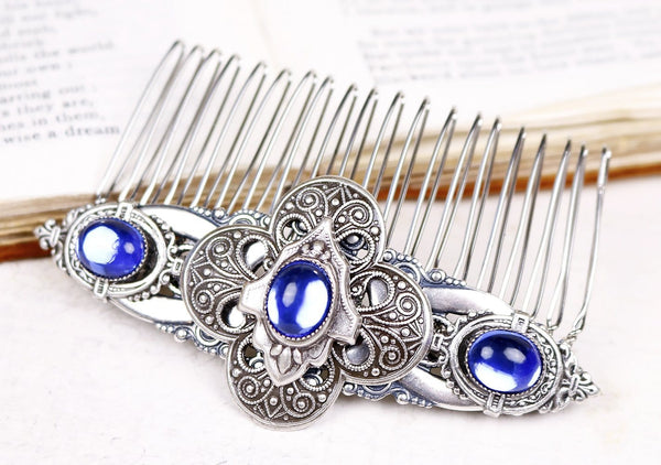 Avebury Comb - Sapphire - Antiqued Silver - Rabbitwood & Reason