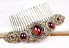 Canterbury Comb - Garnet - Antiqued Brass - Rabbitwood & Reason
