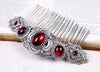 Canterbury Comb - Garnet - Antiqued Silver - Rabbitwood & Reason