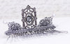 Gothic Cathedral Comb - Crystal & Iridescent Dove Gray Pearl - Antiqued Silver - Rabbitwood & Reason