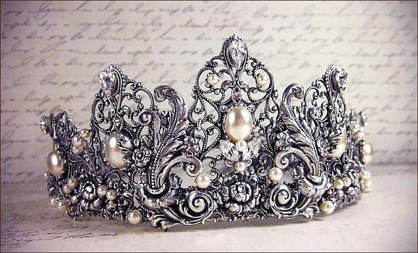 Enchanted Rose Garden Tiara Antiqued Silver - Cream Pearl & Crystal - handcrafted original tiara design by Rabbitwood & Reason