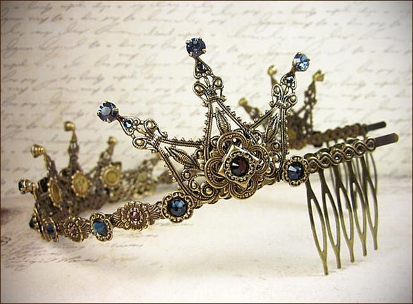 Avalon Tiara - Crystal Points - Antiqued Brass