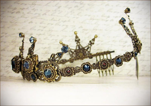 Avalon Tiara - Crystal Points - Antiqued Brass - Centerpiece: Montana; Round Stones on Points: Denim; Accent: Burgundy - by dosha of Rabbitwood & Reason