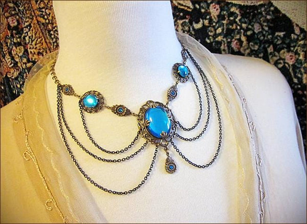 Drucilla Necklace - Aquamarine - Antiqued Brass - Rabbitwood & Reason