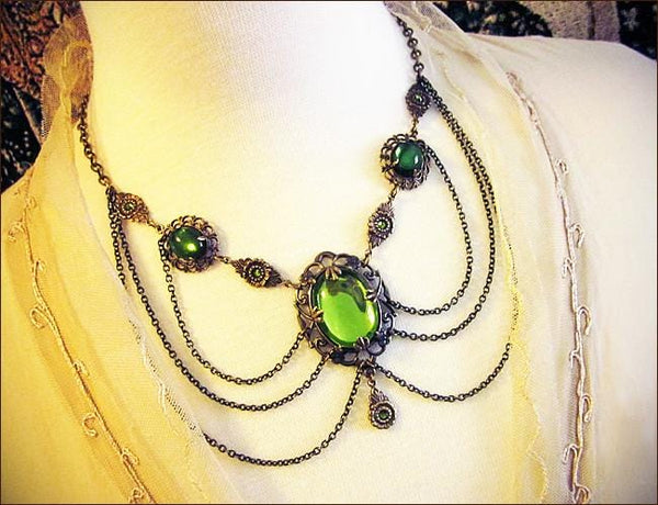 Drucilla Necklace - Olivine - Antiqued Brass - Rabbitwood & Reason