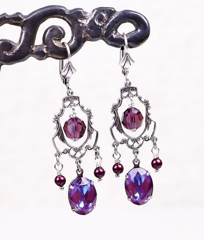 Antoinette Earrings in Burgundy Delite Swarovski© Stones - Antiqued Silver - by dosha of Rabbitwood & Reason