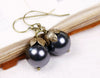 Aquitaine Pearl Drop Earrings - Black Pearl & Antiqued Brass - Rabbitwood & Reason
