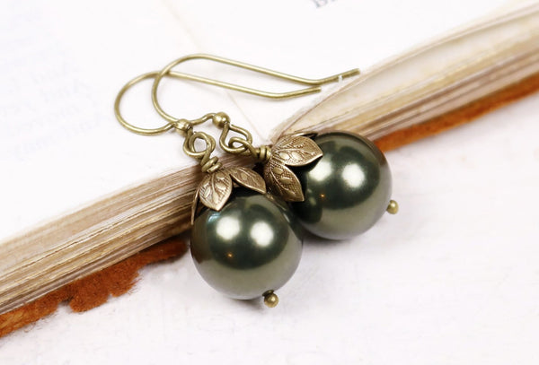 Aquitaine Pearl Drop Earrings in Dark Green Pearl - Antiqued Brass - by dosha of Rabbitwood & Reason