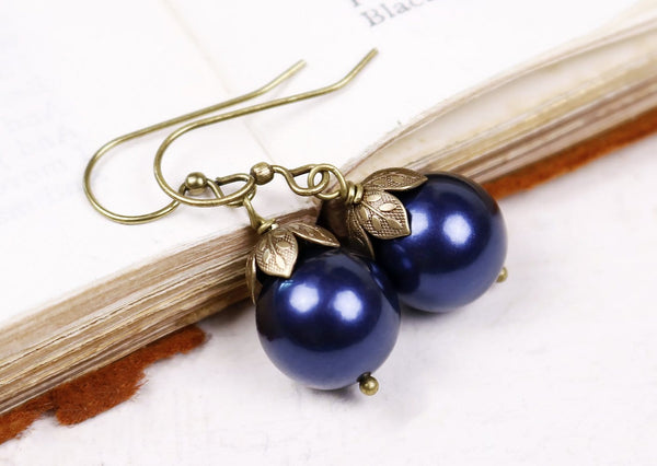Aquitaine Pearl Drop Earrings in Dark Lapis Pearl - Antiqued Brass - by dosha of Rabbitwood & Reason