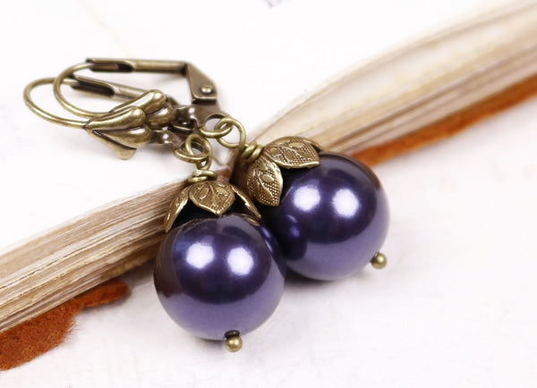Aquitaine Pearl Drop Earrings - Dark Purple Pearl & Antiqued Brass - Rabbitwood & Reason