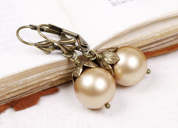 Aquitaine Pearl Drop Earrings in Gold Pearl - Antiqued Brass - by dosha of Rabbitwood & Reason