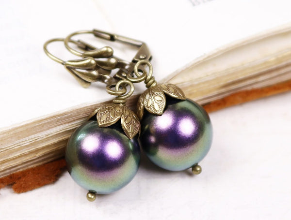 Aquitaine Pearl Drop Earrings - Iridescent Purple Pearl & Antiqued Brass - Rabbitwood & Reason