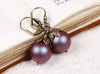 Aquitaine Pearl Drop Earrings - Iridescent Red Pearl & Antiqued Brass - Rabbitwood & Reason