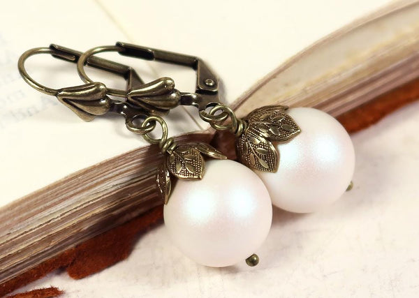 Aquitaine Pearl Drop Earrings in Pearlescent White Pearl - Antiqued Brass - by dosha of Rabbitwood & Reason