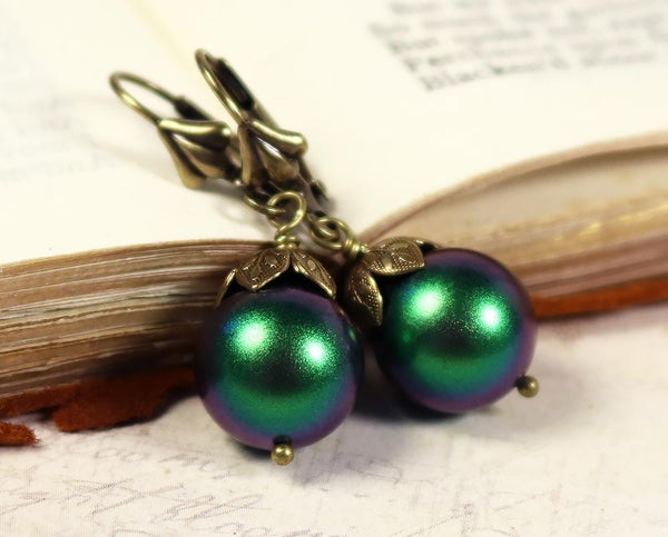 Aquitaine Pearl Drop Earrings - Scarabaeus Green Pearl & Antiqued Brass - Rabbitwood & Reason