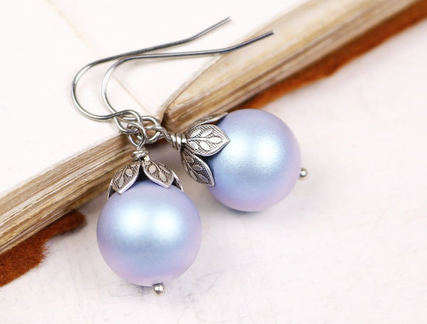 Aquitaine Pearl Drop Earrings in Iridescent Light Blue Pearl - Antiqued Silver - by dosha of Rabbitwood & Reason