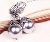 Aquitaine Pearl Drop Earrings in Light Grey Pearl - Antiqued Silver - by dosha of Rabbitwood & Reason