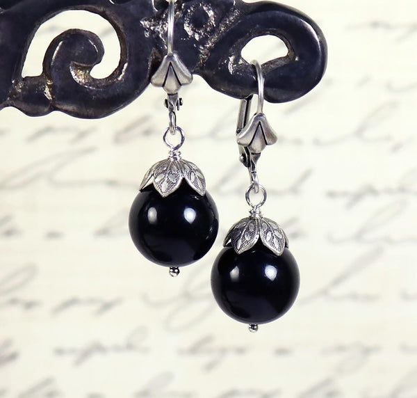 Aquitaine Pearl Drop Earrings in Mystic Black Pearl - Antiqued Silver - by dosha of Rabbitwood & Reason