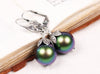 Aquitaine Pearl Drop Earrings in Scarabaeus Green Pearl - Antiqued Silver - by dosha of Rabbitwood & Reason