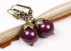 Aquitaine Pearl Drop Earrings - Blackberry Pearl & Antiqued Brass - Rabbitwood & Reason