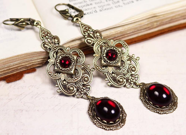 Avalon Earrings in Garnet - Antiqued Brass by dosha of Rabbitwood & Reason
