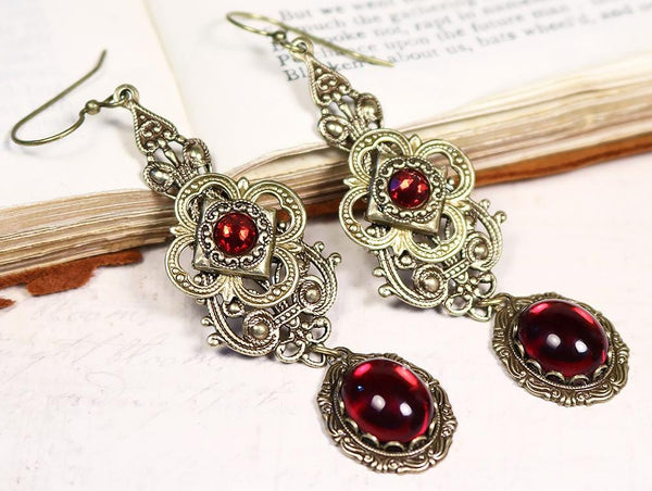 Avalon Earrings in Ruby - Antiqued Brass by dosha of Rabbitwood & Reason