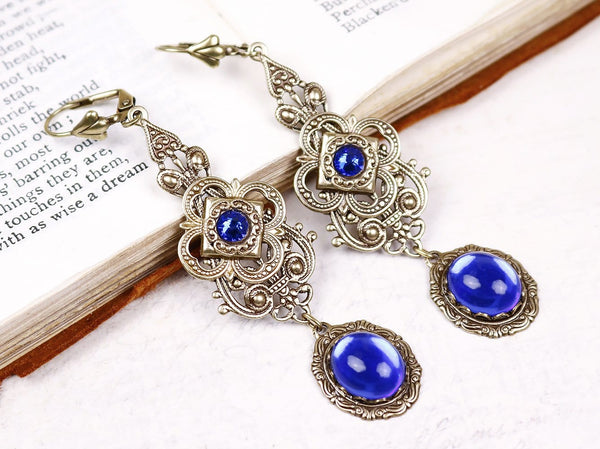 Avalon Earrings in Sapphire - Antiqued Brass by dosha of Rabbitwood & Reason