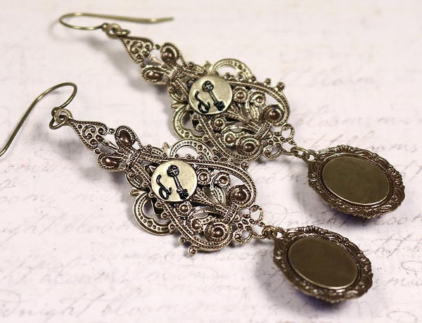 Each earring arrives with a Rabbitwood & Reason signature key - Avalon Earrings - Antiqued Brass - Rabbitwood & Reason