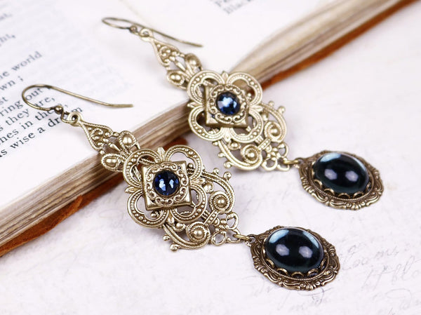 Avalon Earrings in Twilight Blue - Antiqued Brass by dosha of Rabbitwood & Reason