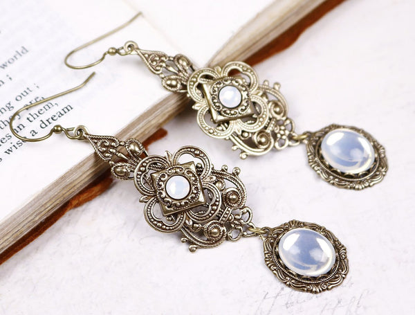 Avalon Earrings in White Opal - Antiqued Brass by dosha of Rabbitwood & Reason