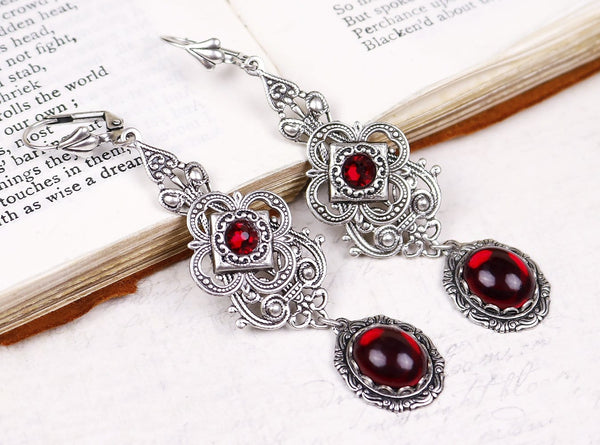 Avalon Earrings in Garnet - Antiqued Silver by dosha of Rabbitwood & Reason