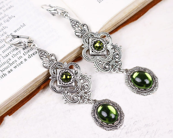Avalon Earrings in Olivine - Antiqued Silver by dosha of Rabbitwood & Reason