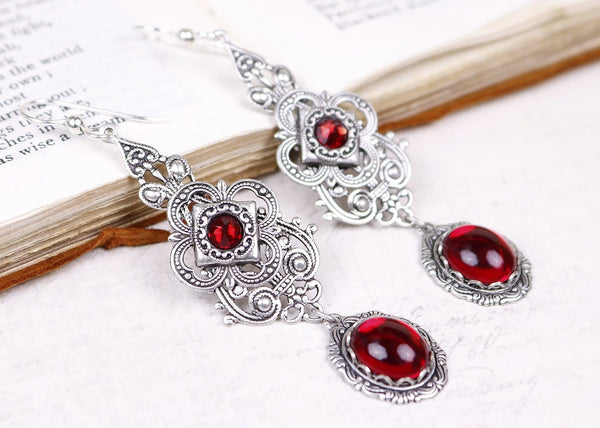 Avalon Earrings in Ruby - Antiqued Silver by dosha of Rabbitwood & Reason