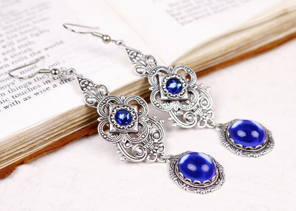 Avalon Earrings in Sapphire - Antiqued Silver by dosha of Rabbitwood & Reason