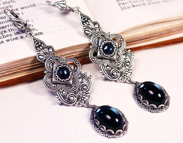 Avalon Earrings in Twilight Blue - Antiqued Silver by dosha of Rabbitwood & Reason
