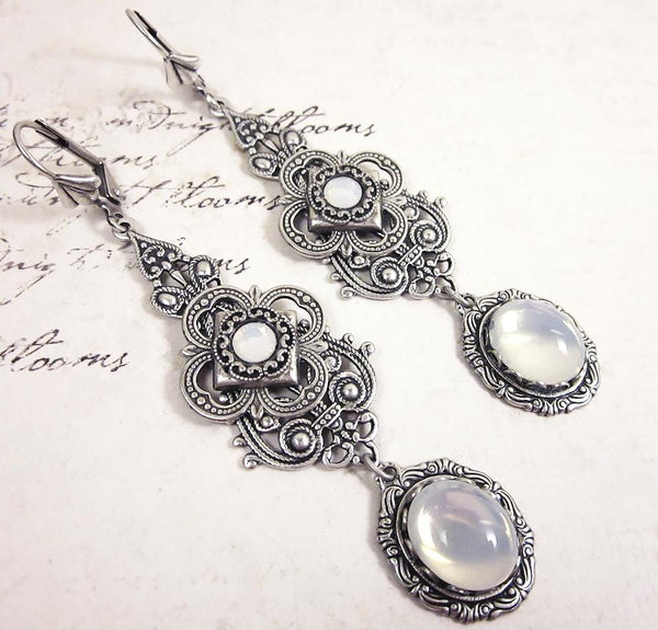 Avalon Earrings in White Opal - Antiqued Silver by dosha of Rabbitwood & Reason