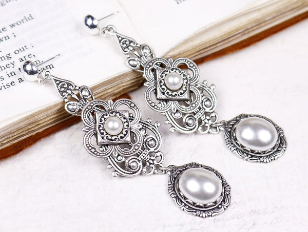 Avalon Earrings in White Pearl - Antiqued Silver by dosha of Rabbitwood & Reason