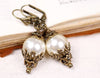 Borgia Drop Earrings - Cream Pearl - Antiqued Brass - Rabbitwood & Reason