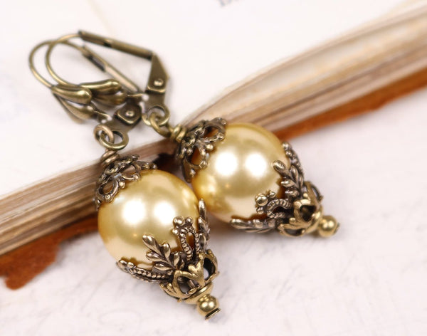 Borgia Drop Earrings - Gold Pearl - Antiqued Brass - Rabbitwood & Reason