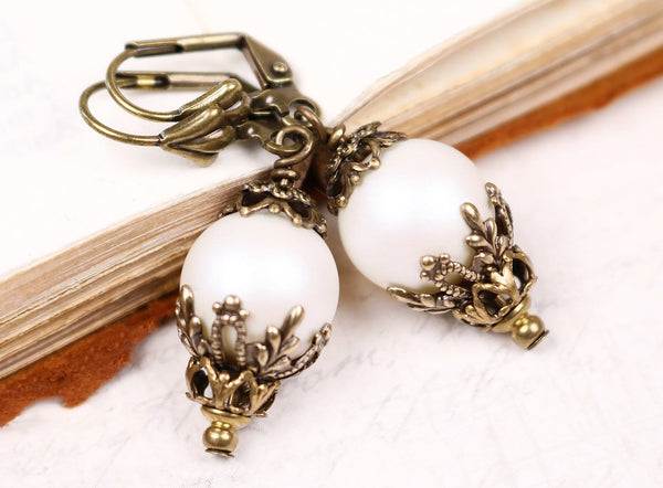 Borgia Drop Earrings - Iridescent White Pearl - Antiqued Brass - Rabbitwood & Reason